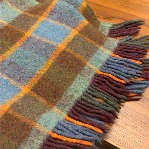 Plaid wool throw vintage blue orange brown